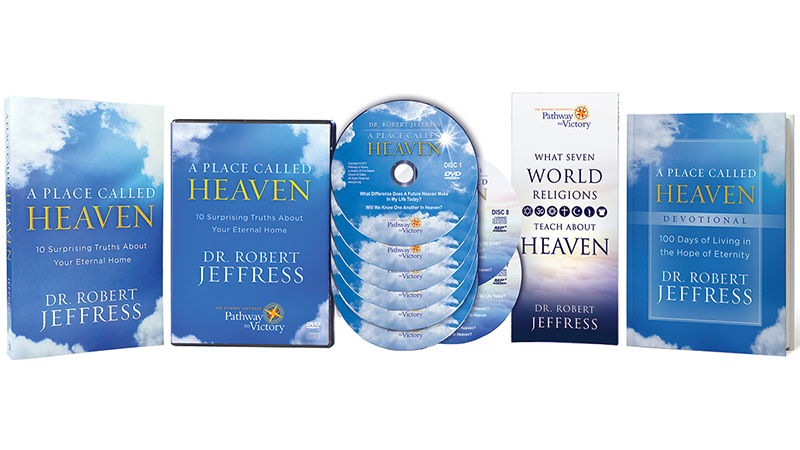 A Place Called Heaven Devotional + What Seven World Religions Teach About Heaven brochure + A Place Called Heaven soft-cover book + the series on DVD Video and MP3-format audio disc