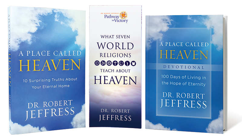 A Place Called Heaven Devotional + What Seven World Religions Teach About Heaven brochure + the book, A Place Called Heaven