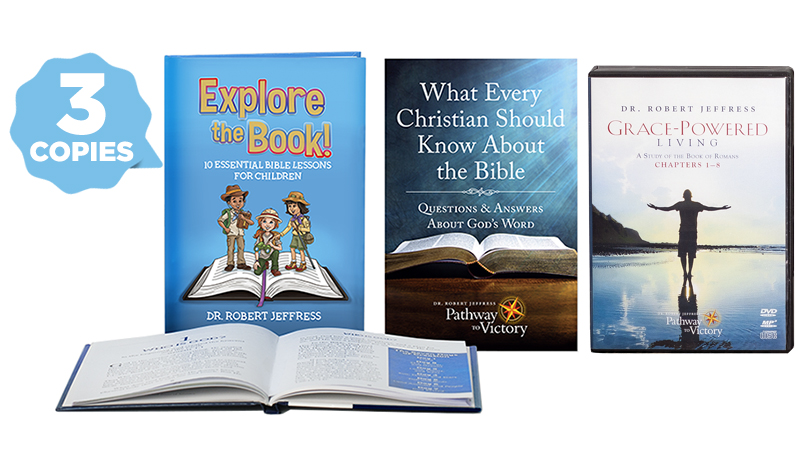 3 copies of Explore the Book!, one copy of What Every Christian Should Know About The Bible, and Grace-Powered Living: Ch. 1-8 on DVD video and MP3-format disc