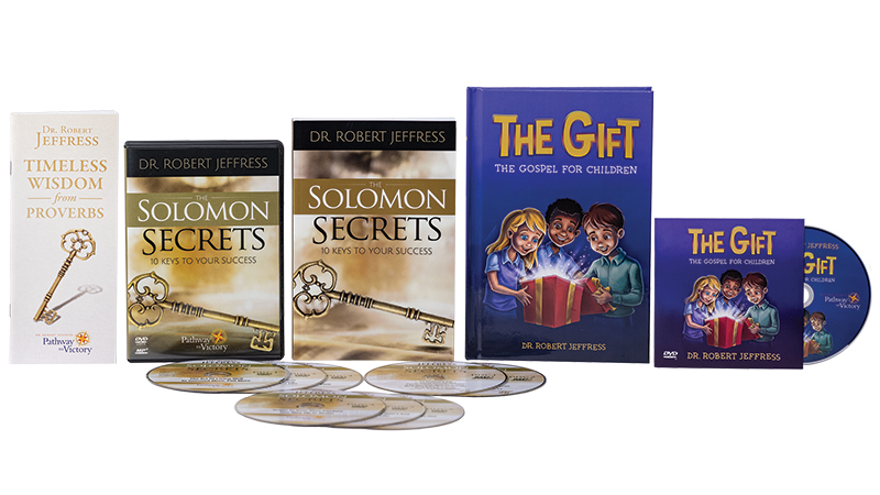 The Solomon Secrets book + DVD Video and MP3-format audio disc set + Timeless Wisdom From Proverbs booklet + The Gift book and DVD