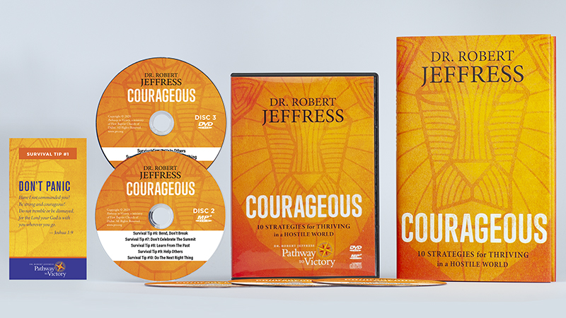 Courageous hard-cover book + Courageous Encouragement Cards + DVD Video and MP3-format audio disc set