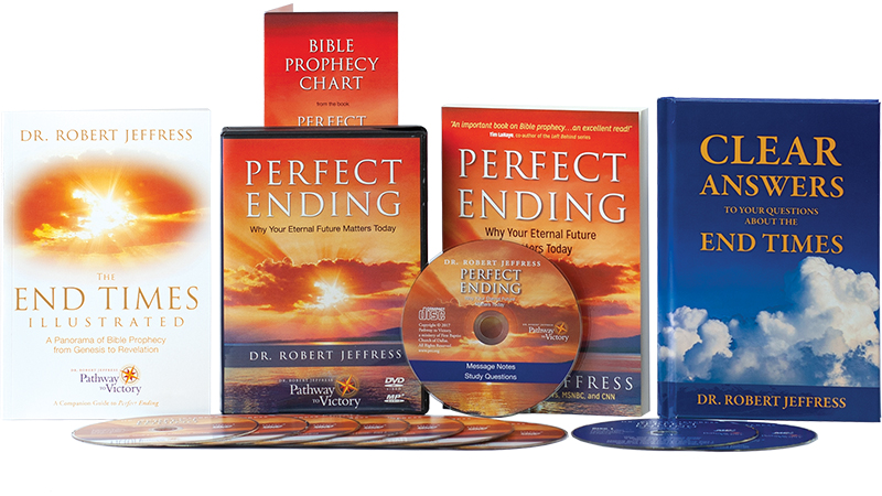 Perfect Ending book and DVD Video and MP3-format audio disc, The Bible Prophecy Chart, the End Times Illustrated, and Clear Answers to your Questions about the End Times book