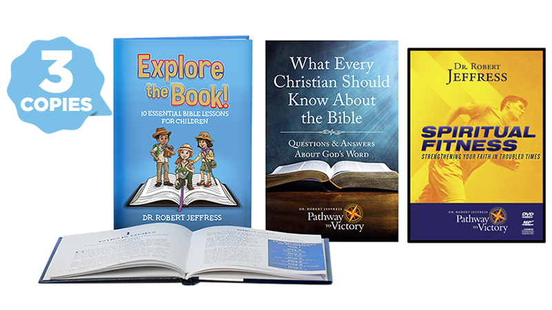 3 copies of Explore the Book!, one copy of What Every Christian Should Know About The Bible, and Spiritual Fitness on DVD video and MP3-format disc